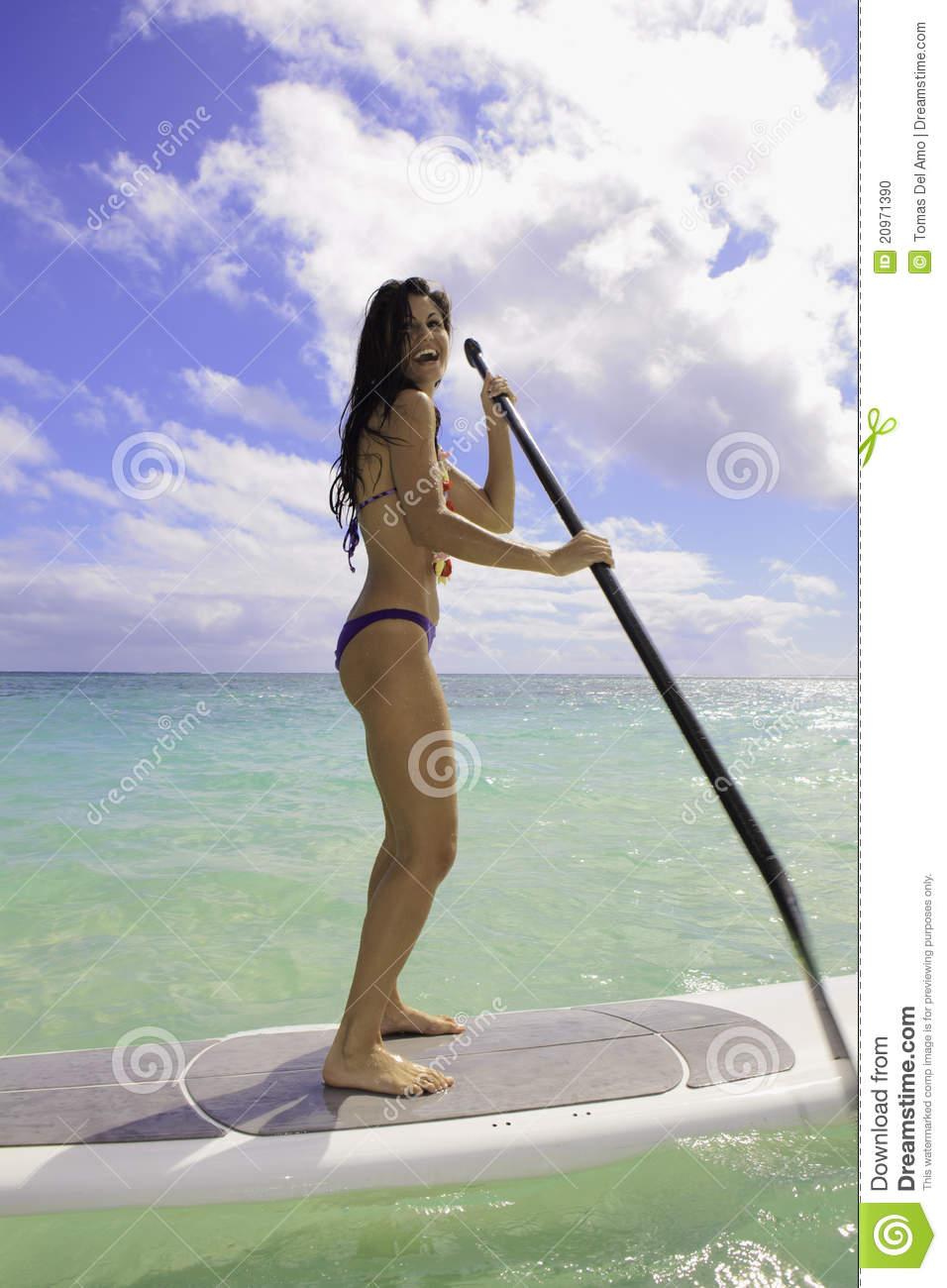 Girl On A Stand Up Paddle Board Stock Photo - Image: 20971390