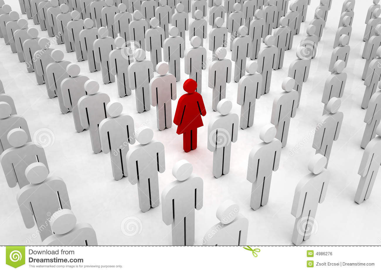 One Person Standing Out In A Crowd Girl Standing Out From...