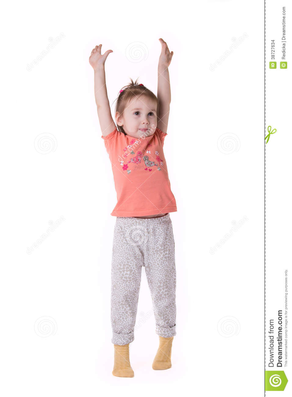 Girl Standing On Tiptoes And Stretches Up Stock Photo ...