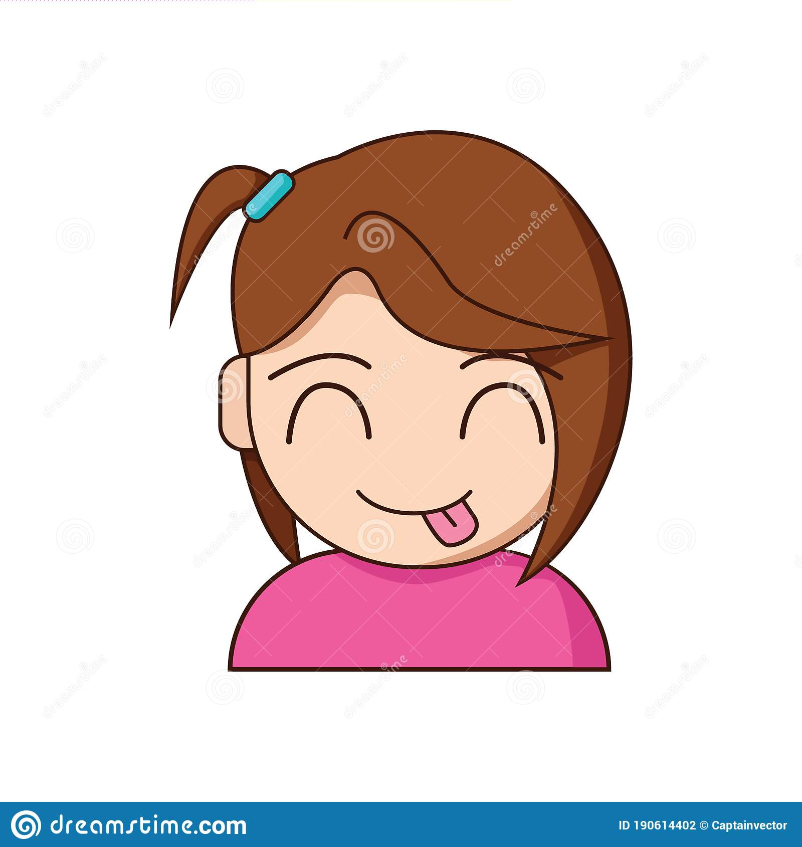 Girl Sticking Out Tongue. Vector Illustration Decorative Design