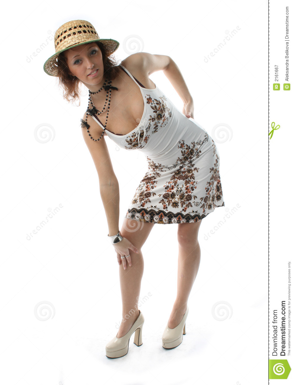 43caaf43eca4a The girl in a sundress and a straw hat on a white background