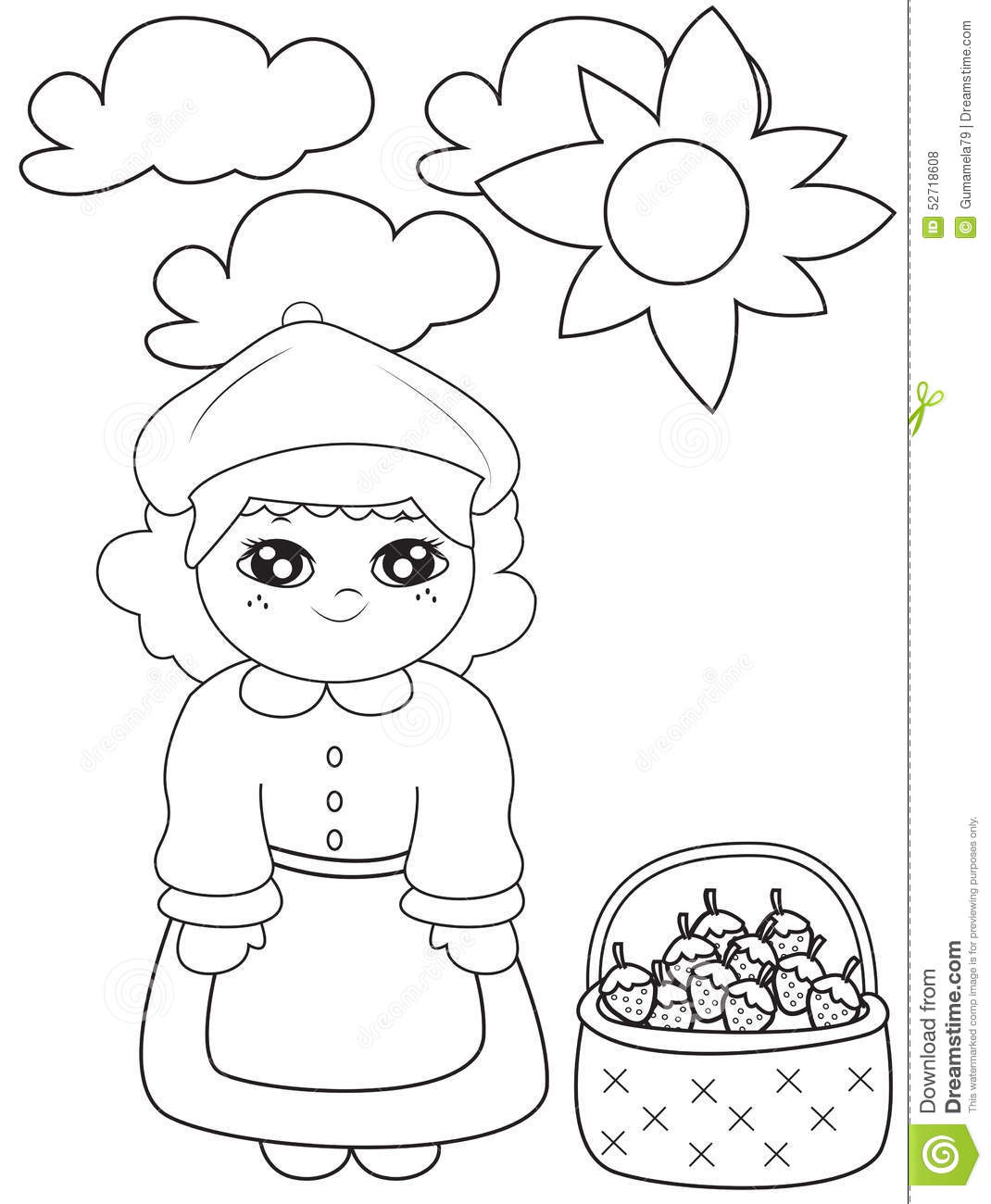 with strawberries under the sun coloring page stock