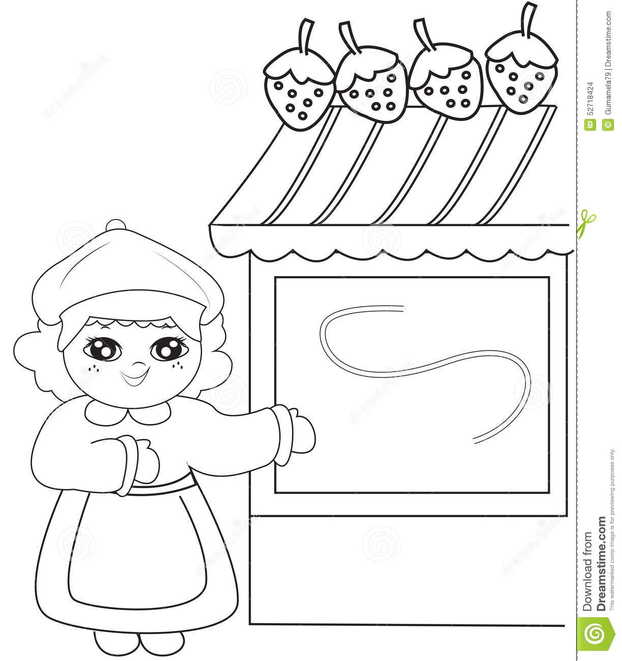 coloring book storage girl beside a strawberry store coloring page stock