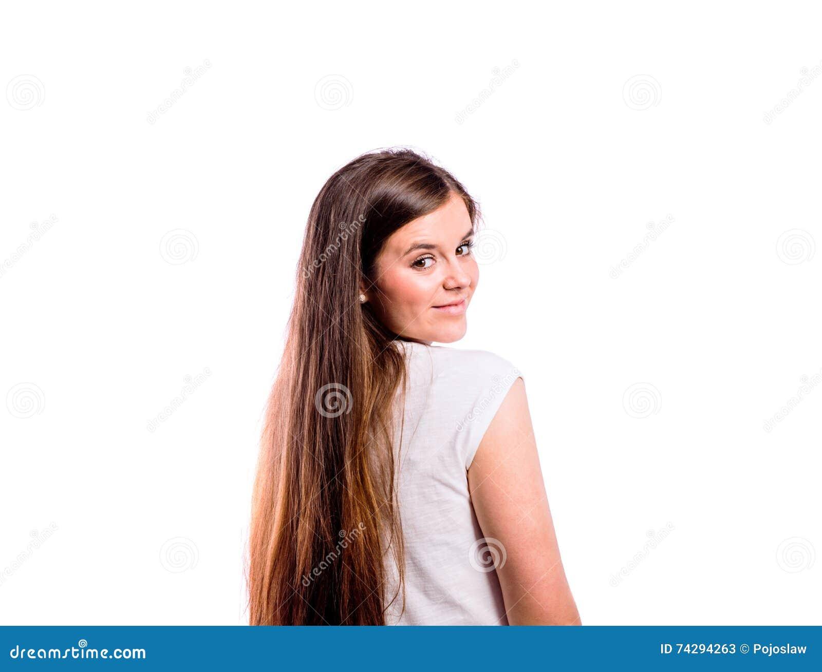 girls shirt view down Teen