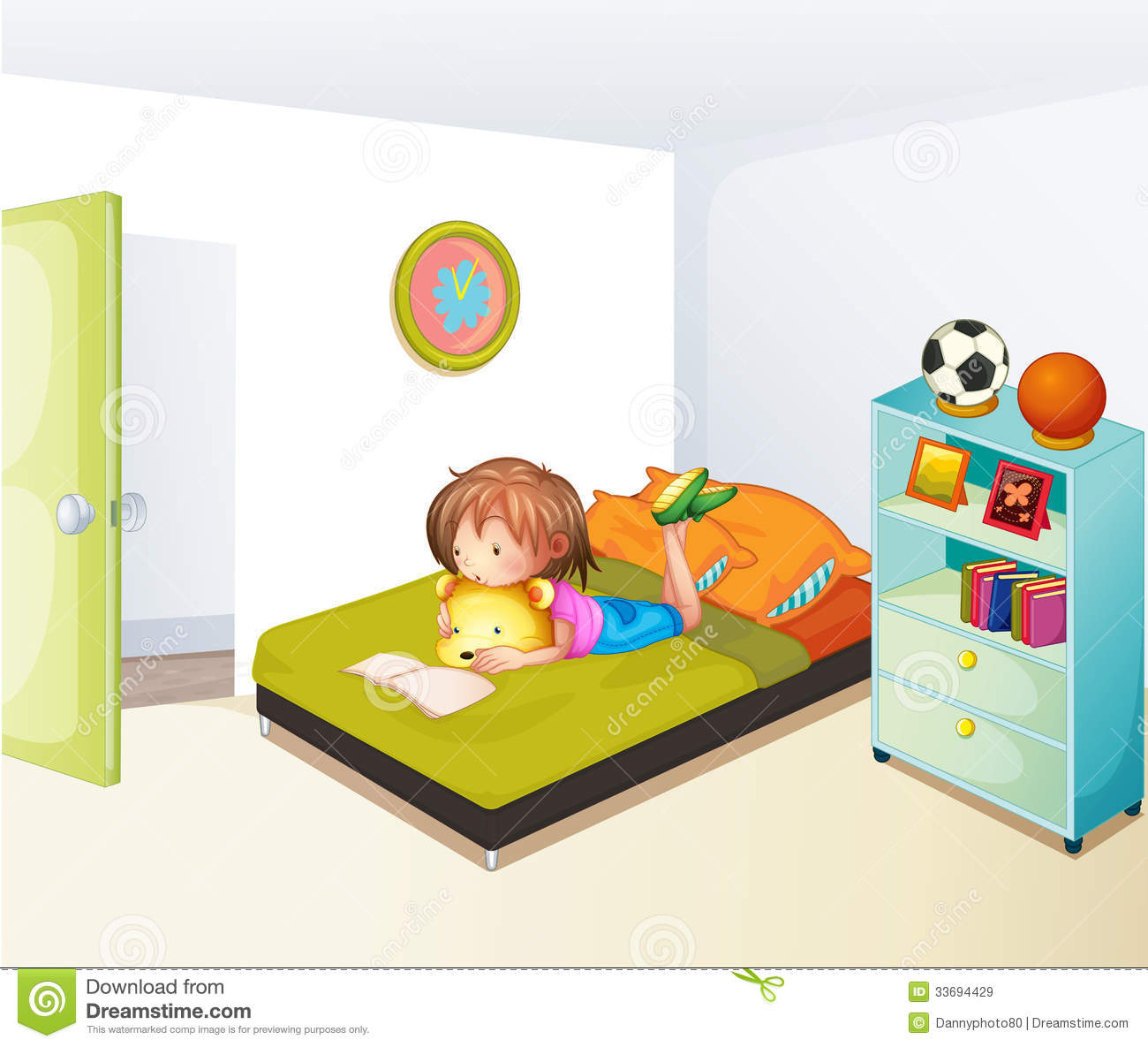 A Girl Studying In Her Clean Bedroom Royalty Free Stock