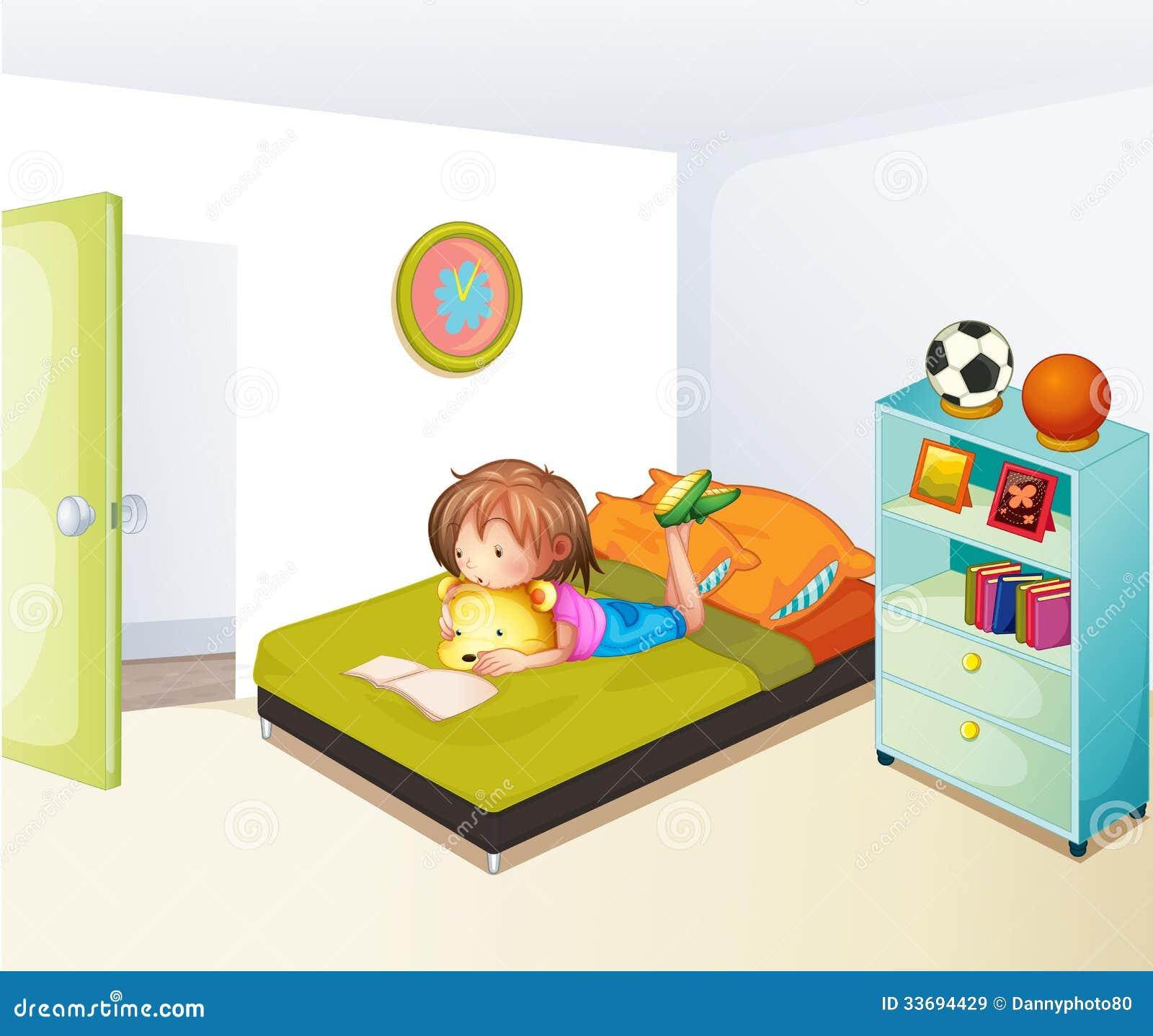 Kids Bedroom Artwork Bedroom Art Gallery Lilac And Blue Bedroom Nice Bedroom Colour: A Girl Studying In Her Clean Bedroom Stock Vector