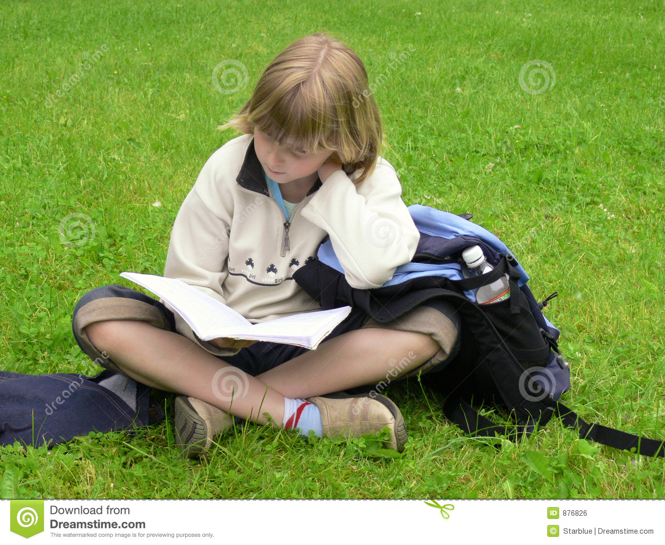 Girl studying in park