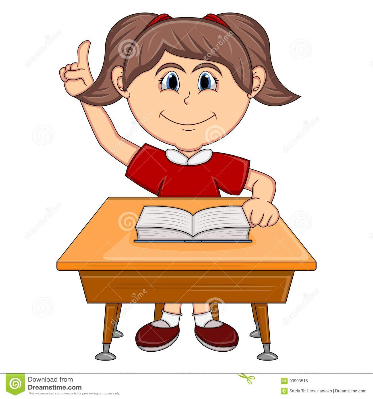 Girl Studying With School Table Cartoon Stock Vector Illustration Of Girl Education 99993516