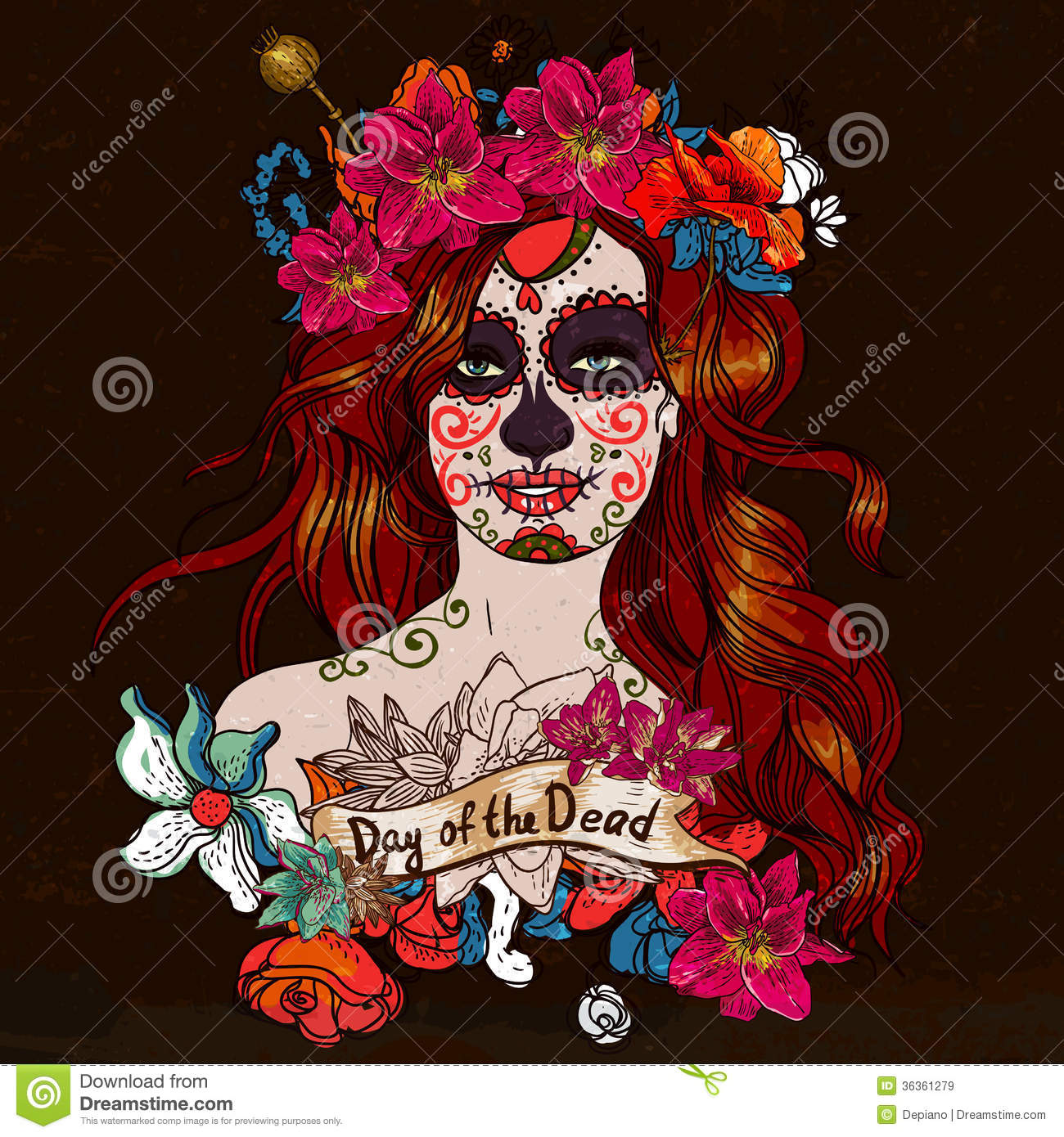 Girl With Sugar Skull, Day Of The Dead Royalty Free Stock Images ...