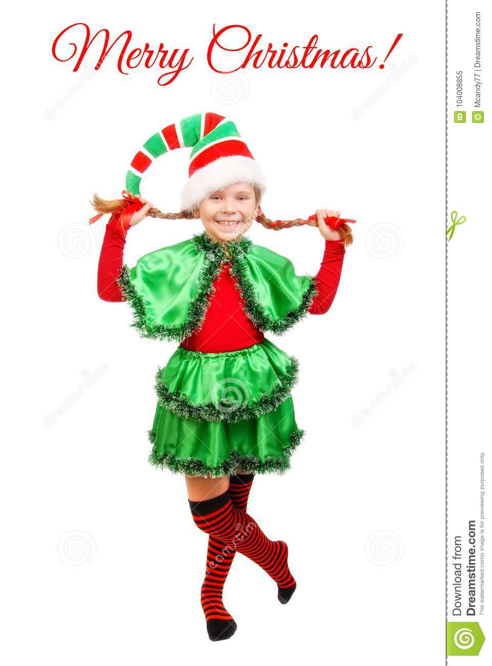 Girl In Suit Of Christmas Elf Over White Stock Image - Image of ...