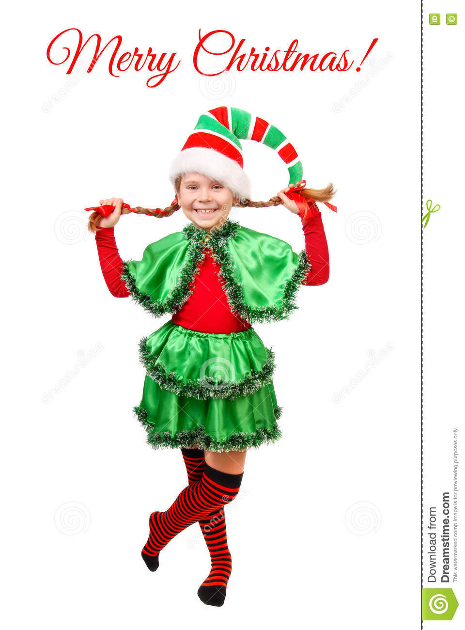 Girl In Suit Of Christmas Elf Over White Stock Photo - Image of ...