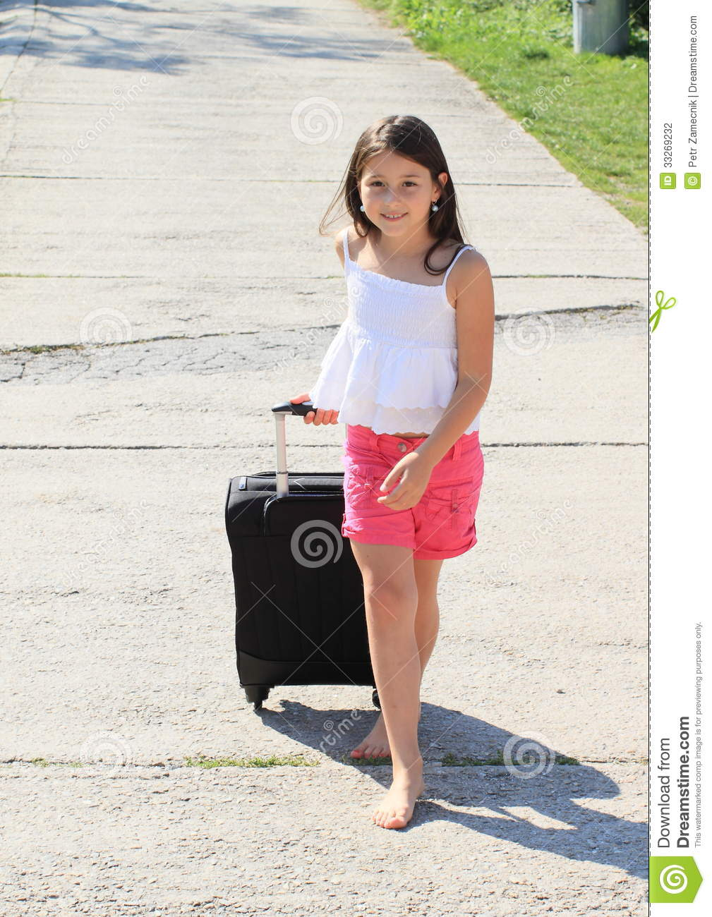 Girl With Suitcase Stock Photography - Image: 33269232