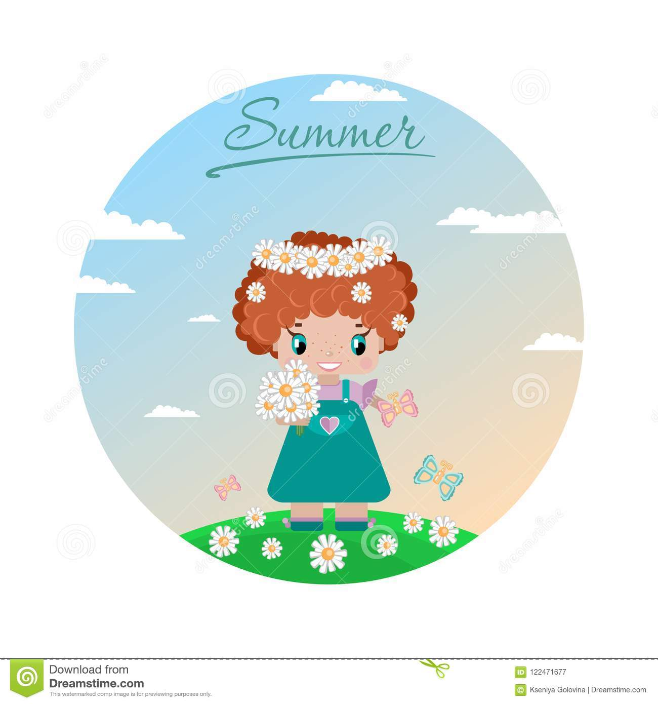 Girl on a summer lawn, with red curly hair, in a wreath of daisies