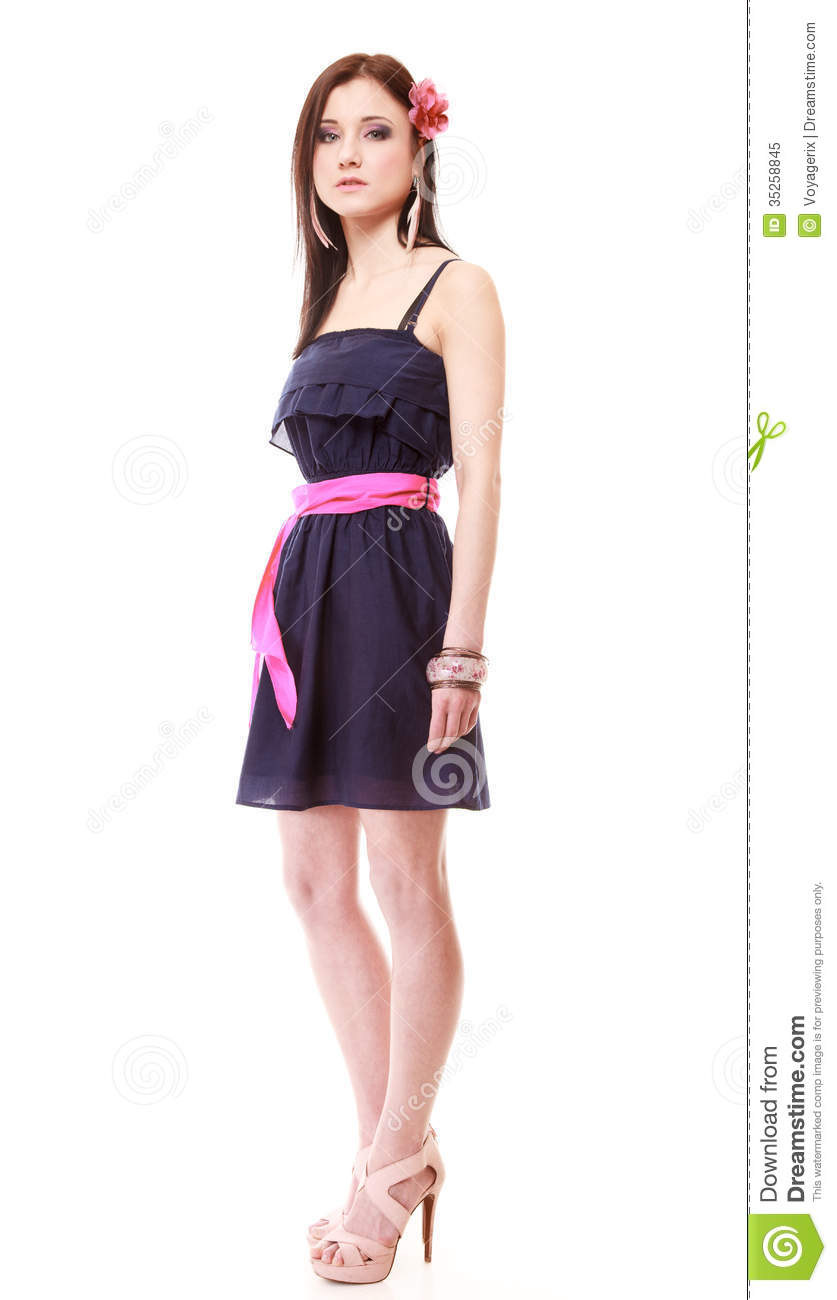 Girl In Summer Style. Fashion Photo Isolated Royalty Free