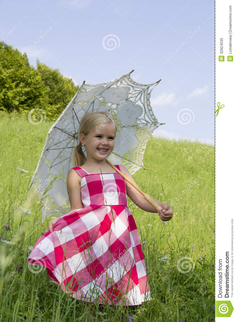 Girl with a summer umbrella