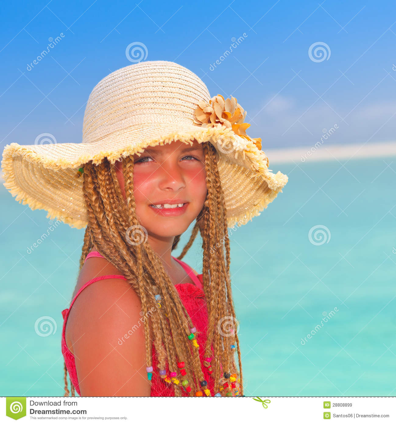 Girl With Sun Hat At Tropical Destination Royalty Free