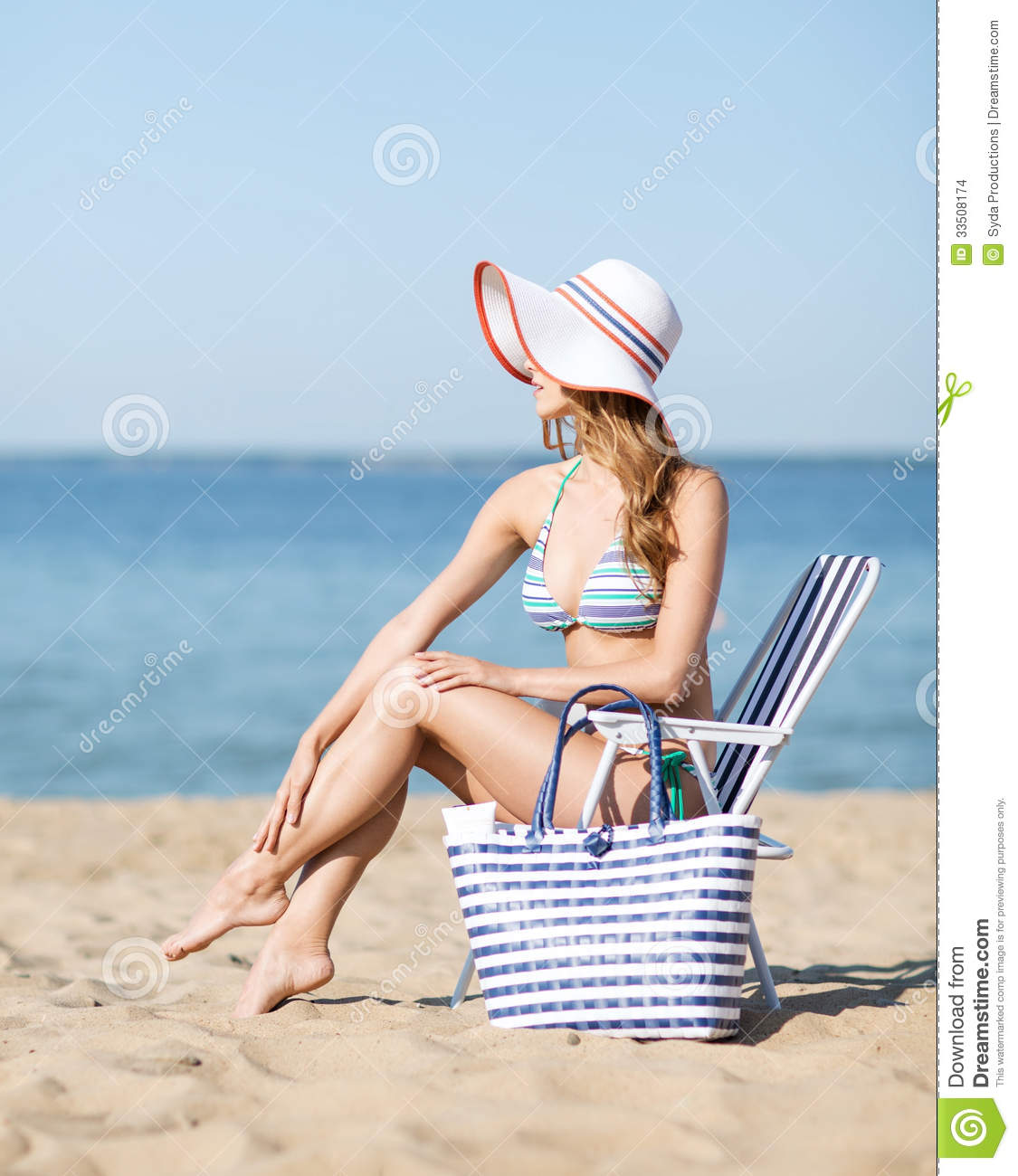 Girl Sunbathing The Beach Chair Stock Image
