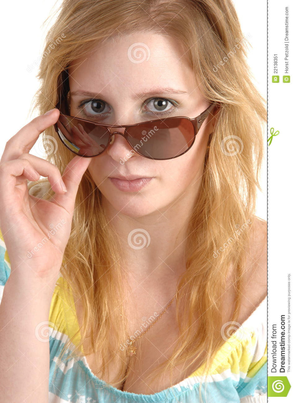 Of blond teen holding sunglasses we've created