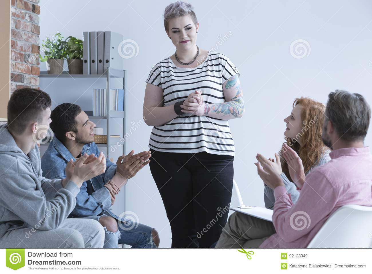 Girl and support group