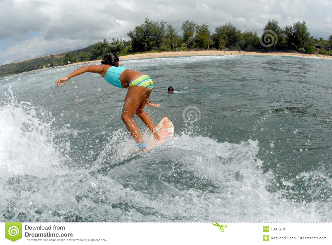 Girl Surfer Stock Image Image Of Ocean Wipeout Extreme 1387519