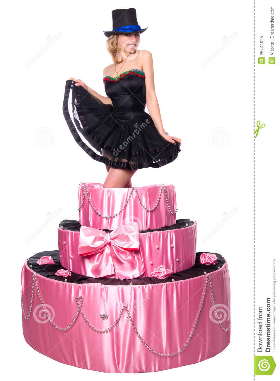 Girl A Surprise Gift Jumps Out Of The Toy Cake Stock