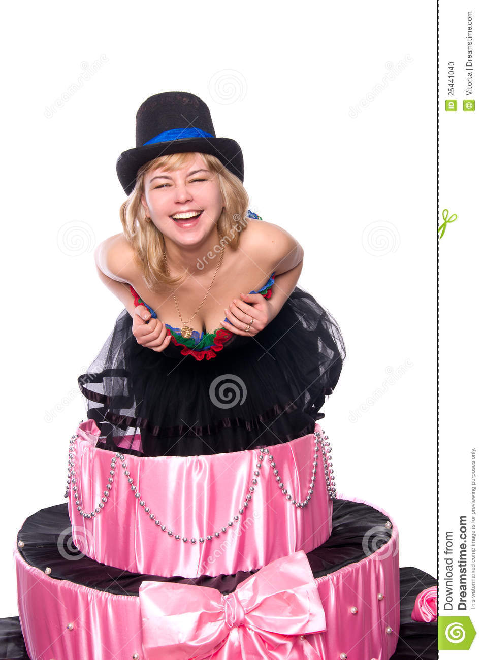 Terrific Girl A Surprise Gift Jumps Out Of The Toy Cake Stock Photo Funny Birthday Cards Online Hetedamsfinfo