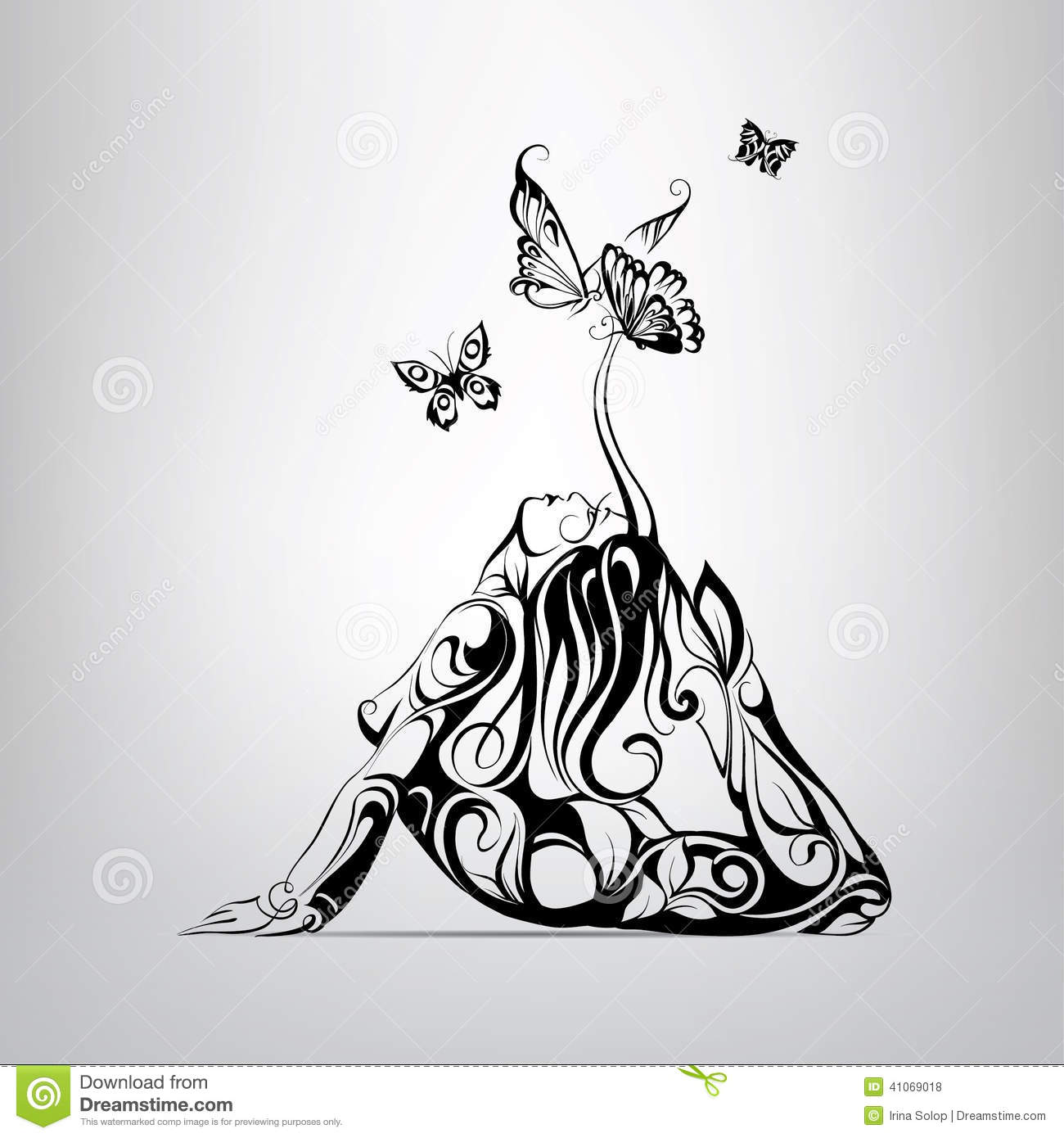 Girl surrounded by butterflies. vector illustration