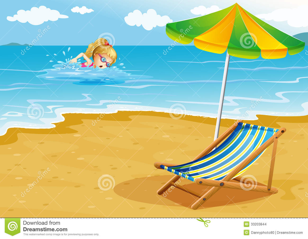 Beach chair drawing - A Girl Swimming At The Beach With A Chair