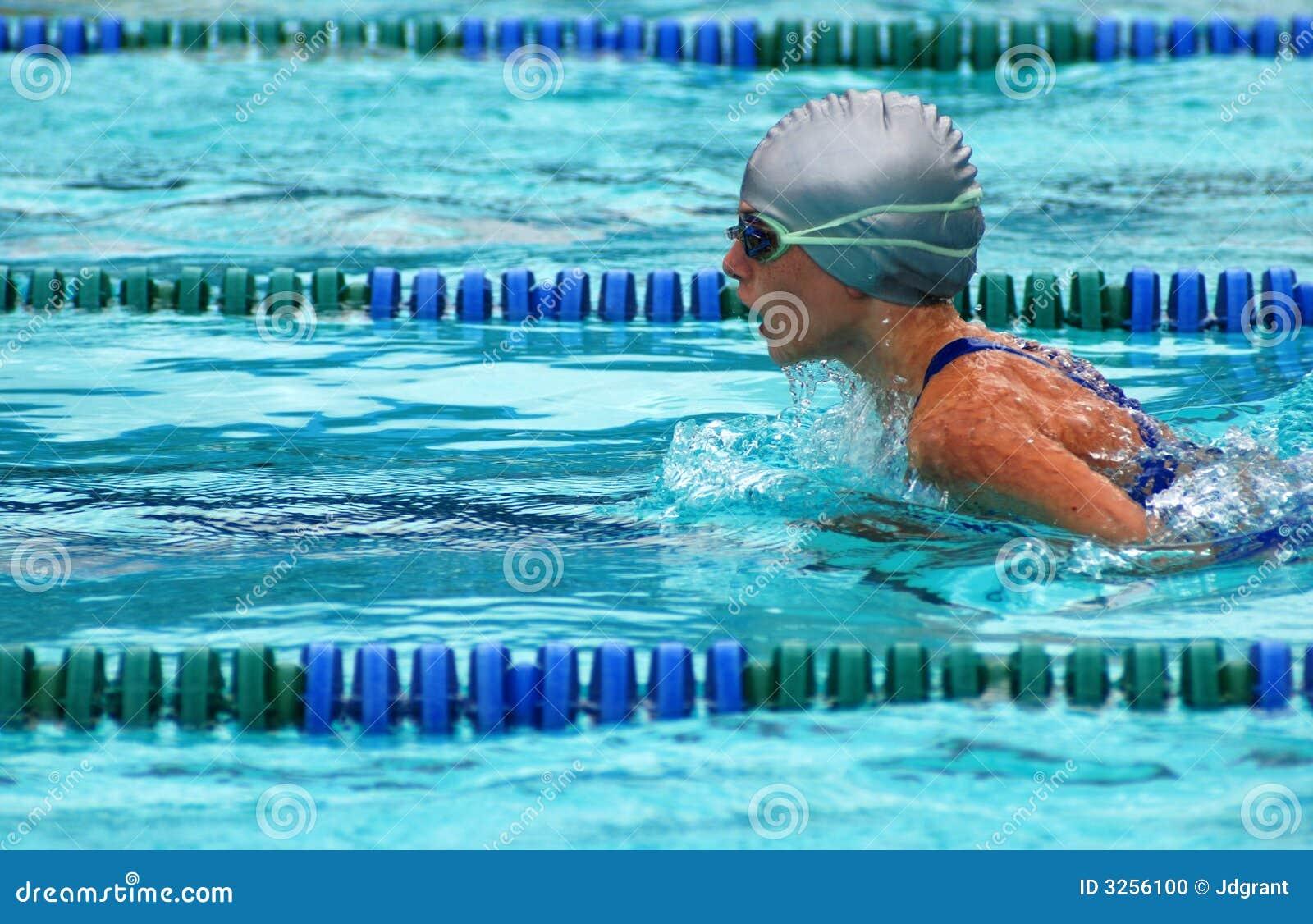 Girl swimming breaststroke