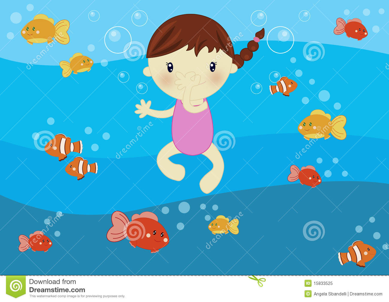 Girl Swimming In The Ocean Stock Vector. Image Of Color