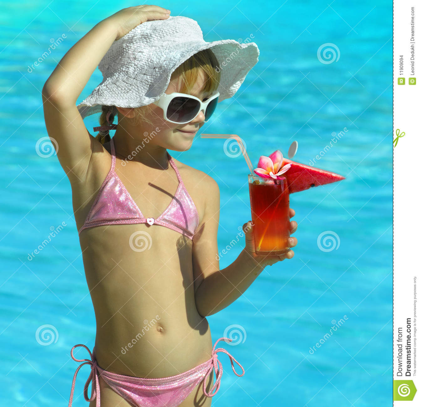 girl swimming in pool clipart