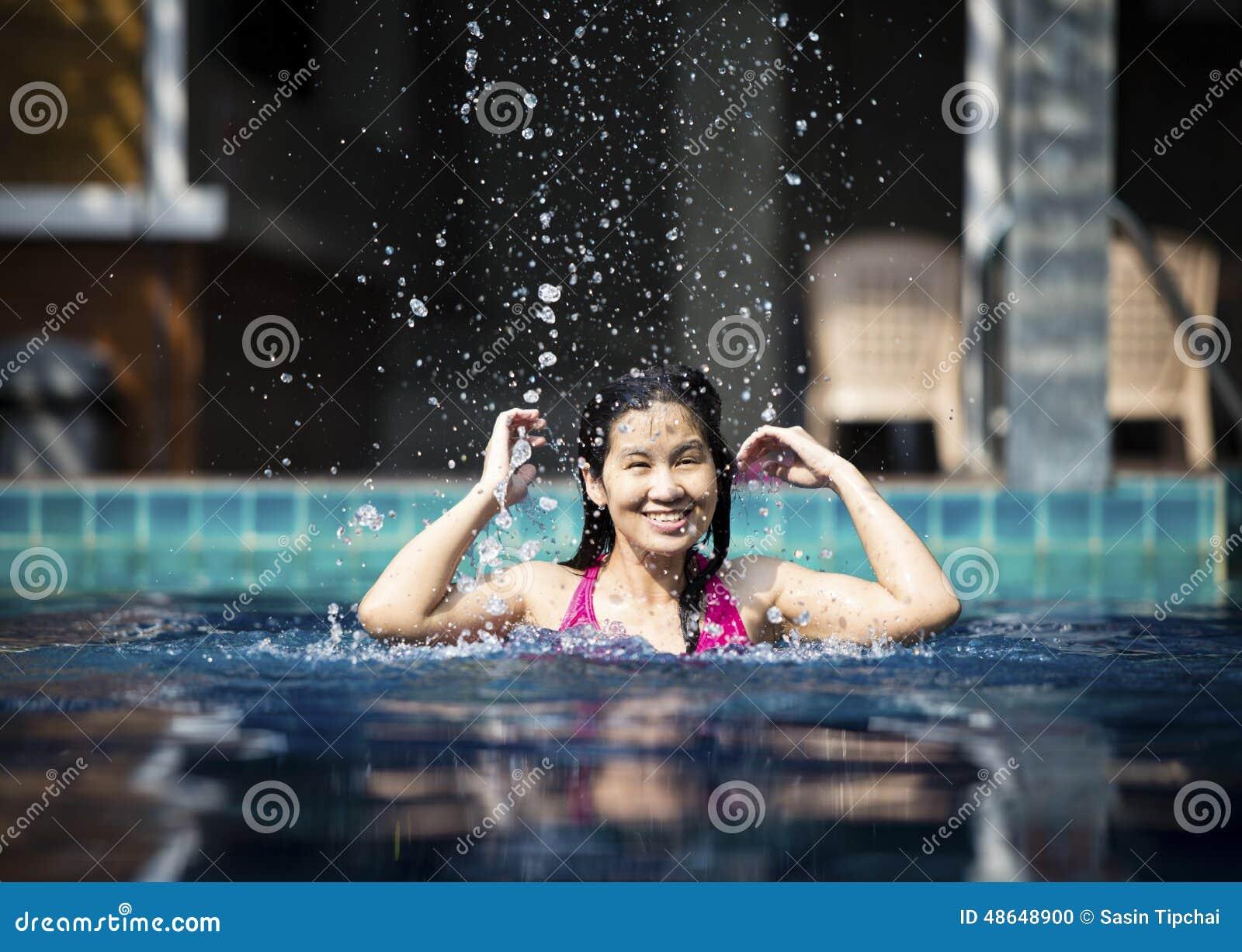 Girl In Swimming Pool Stock Photo Image 48648900
