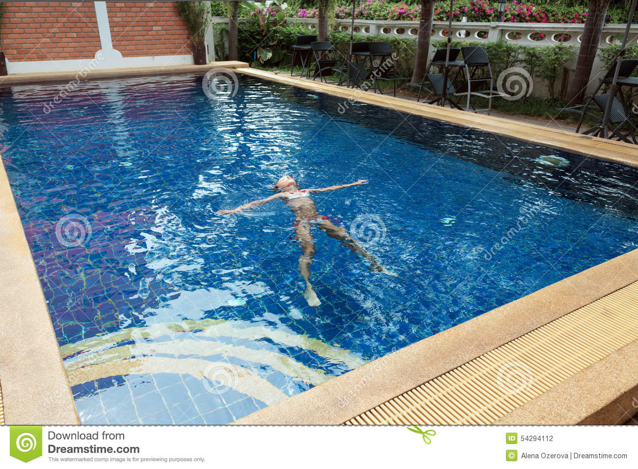 Girl in swimming pool stock photo image 54294112 for What to do with old swimming pool