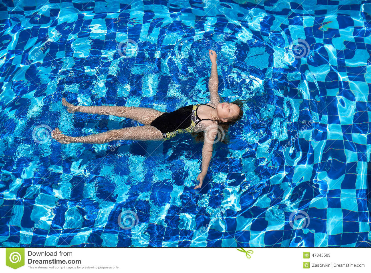 Girl Lying On The Water With Eyes Closed In The Pool Stock Image 33706657
