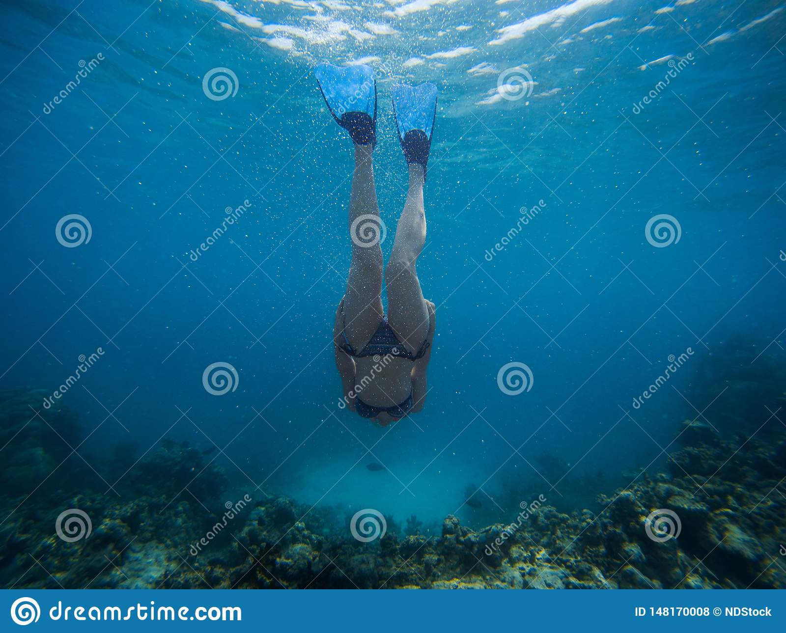 Freediver young woman swims underwater with snorkel and flippers