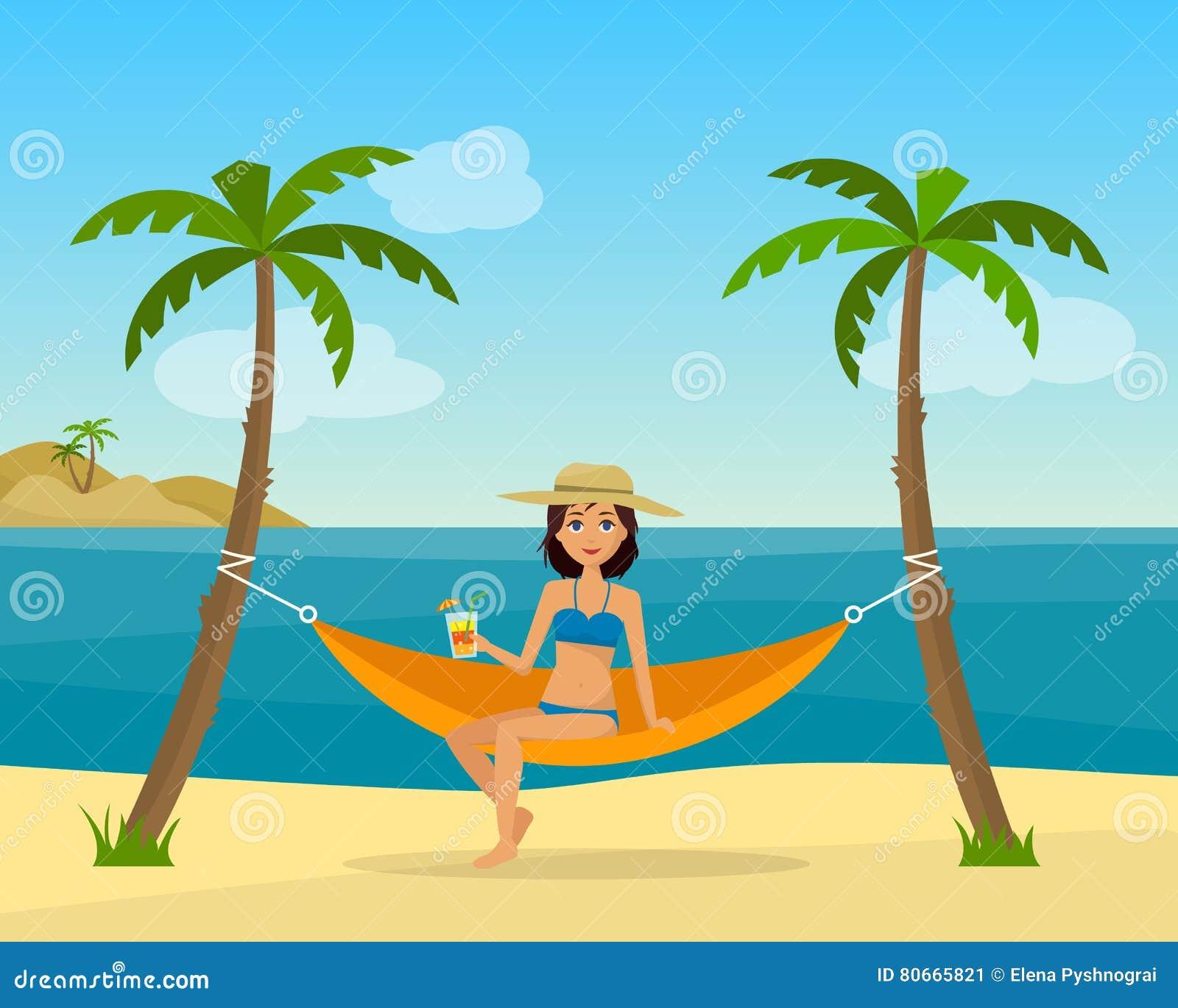 11 >> Girl In Swimsuit In Hammock With Palm Stock Vector - Illustration of bikini, beauty: 80665821
