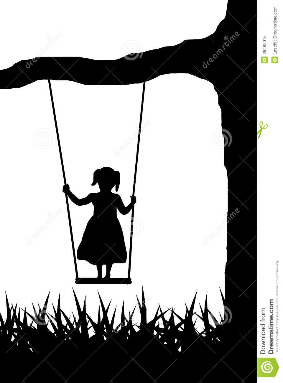 Girl on swing stock ve...