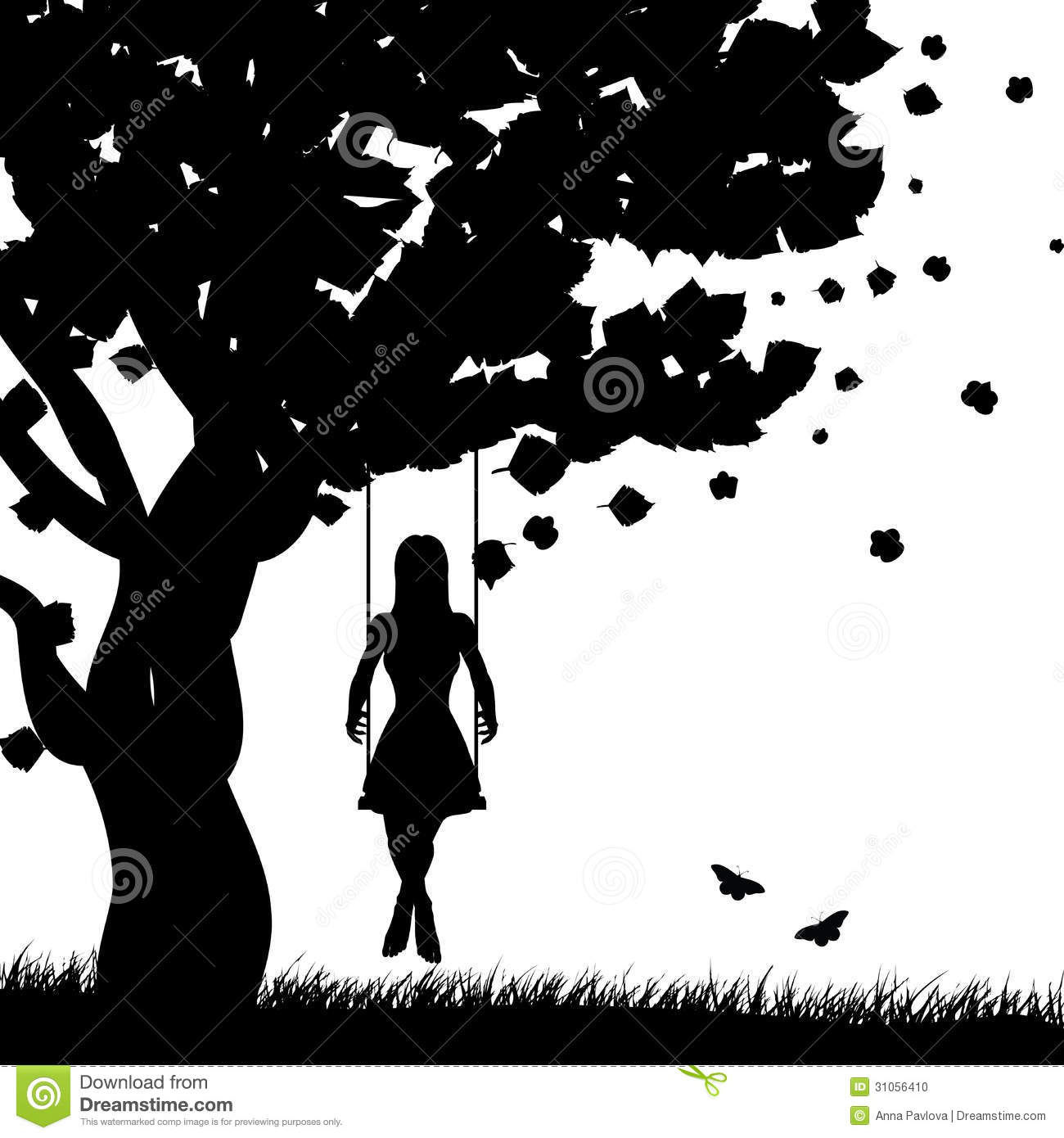 Girl On Swing Silhouette Stock Photo Image 31056410