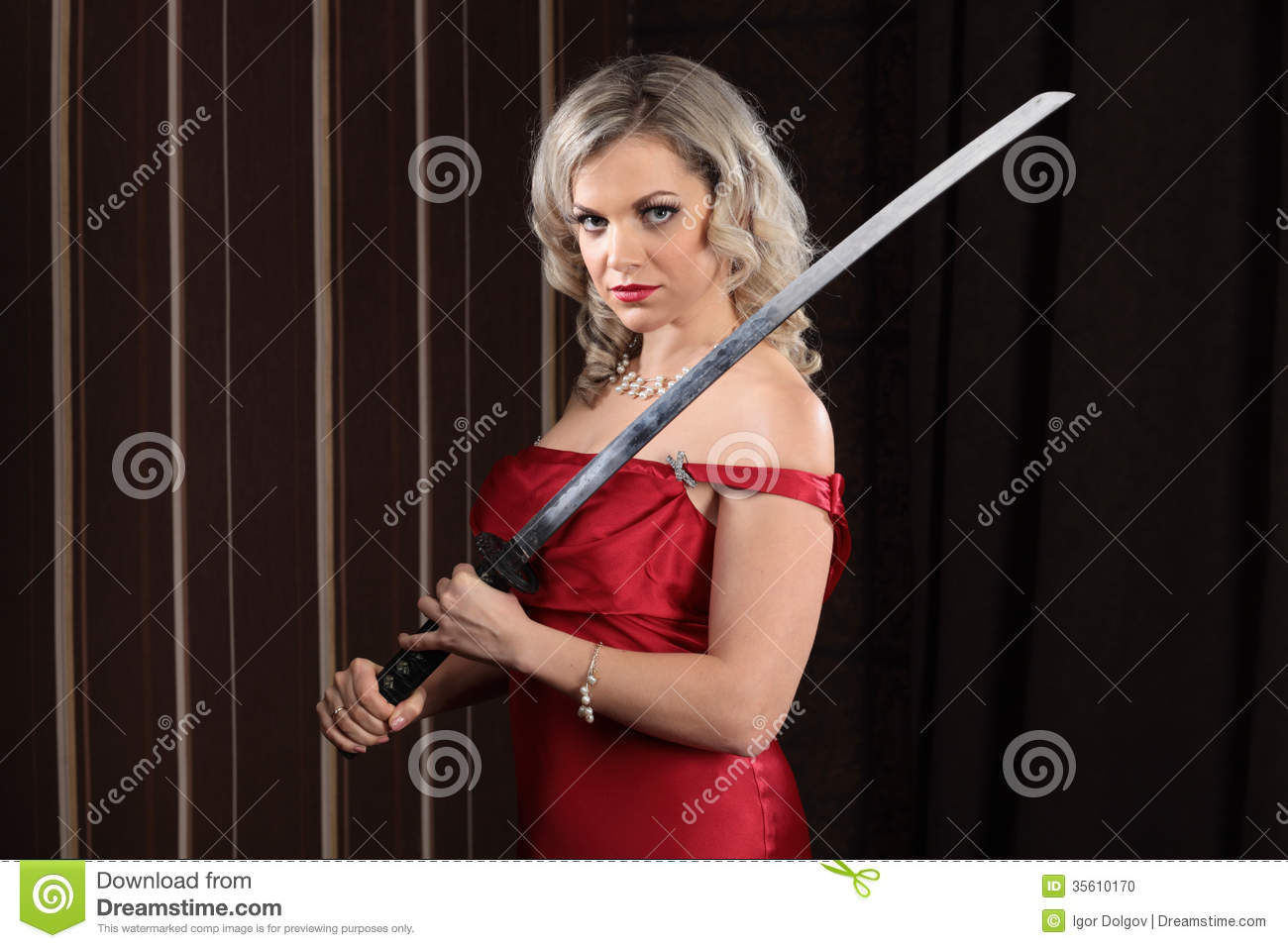 Girl With A Sword Stock Photo Image 35610170