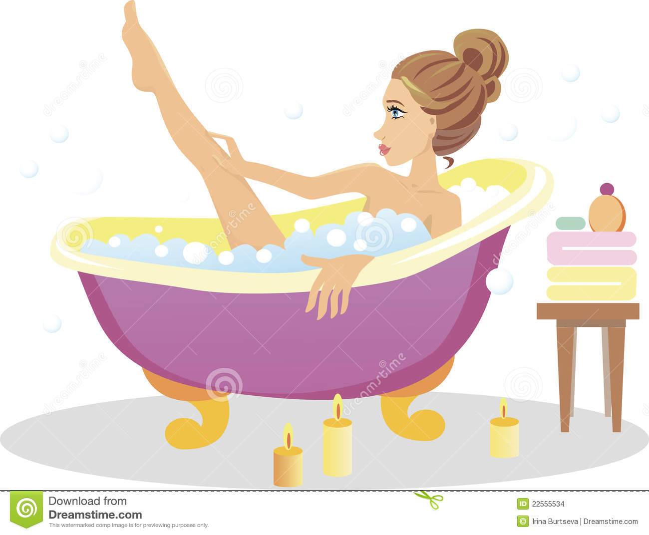 Girl Taking A Bath Stock Vector Illustration Of Style