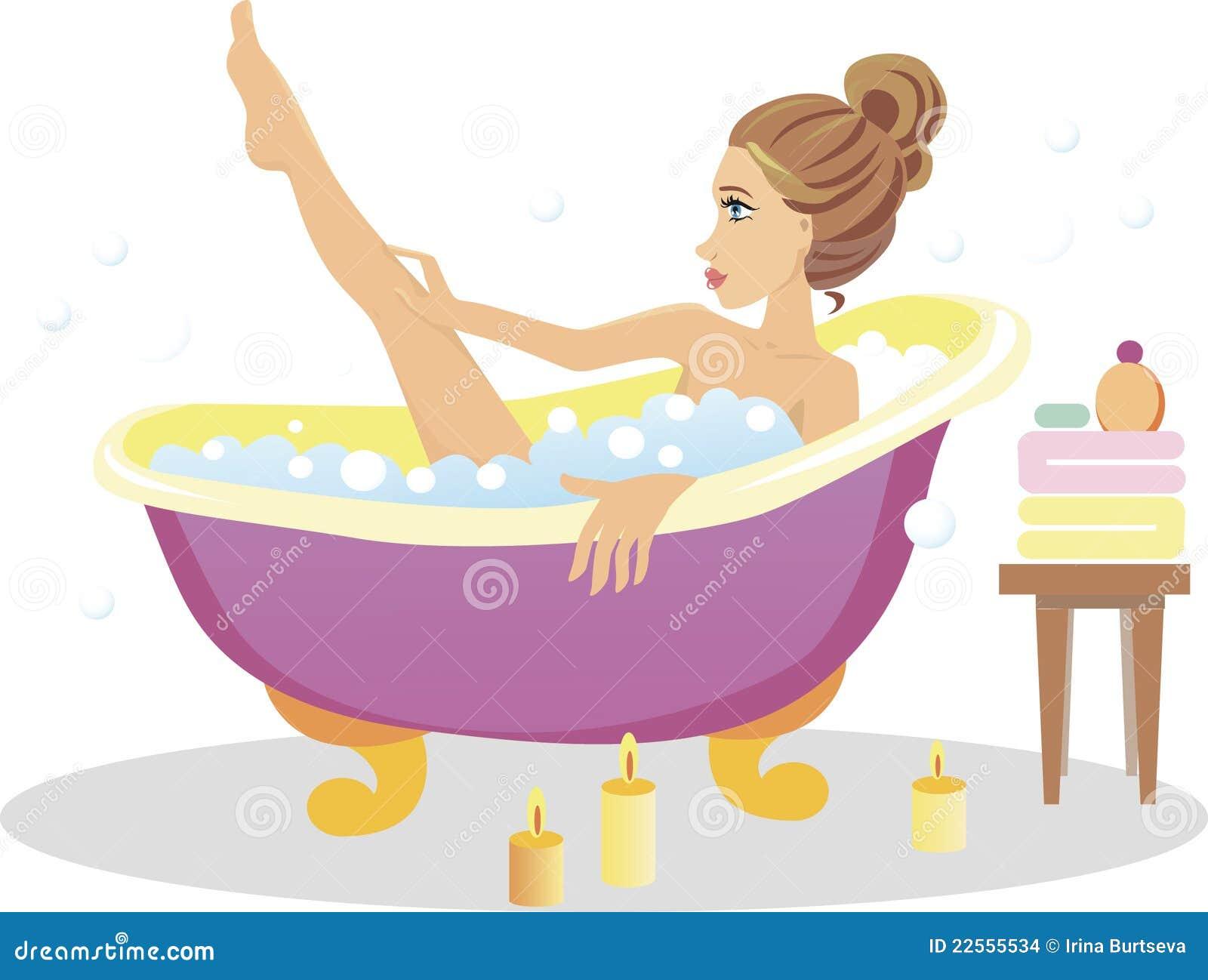girl taking a bath stock vector illustration of style 22555534. Black Bedroom Furniture Sets. Home Design Ideas