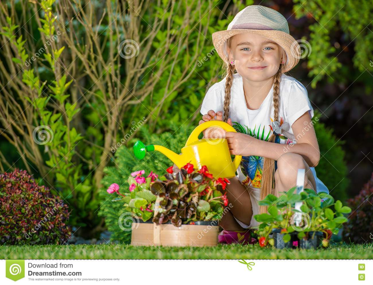 Girl Taking Care Of Garden Stock Image Image Of Natural 78526835