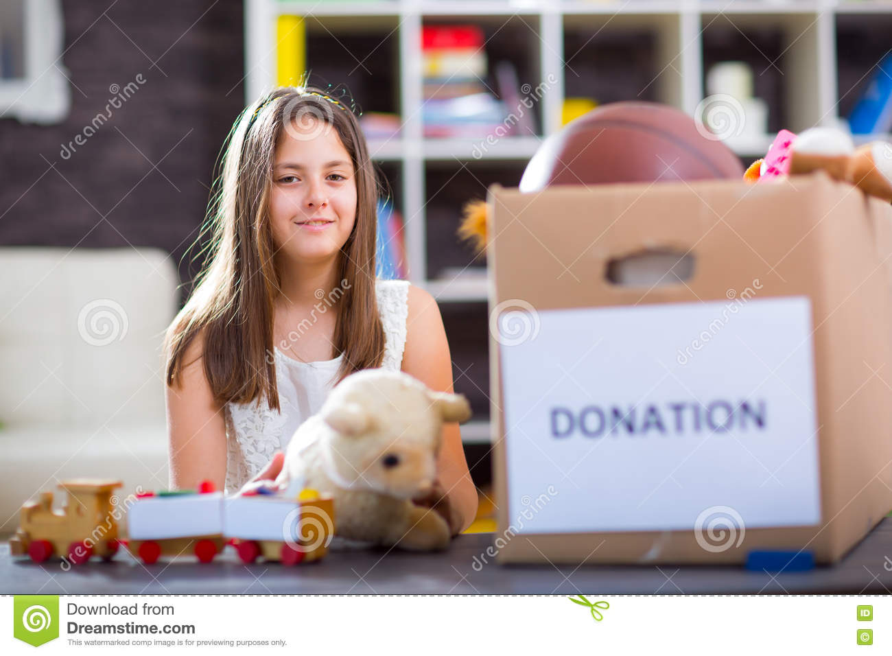 Girl Taking Donation Box Full With Stuff For Donate Stock ...