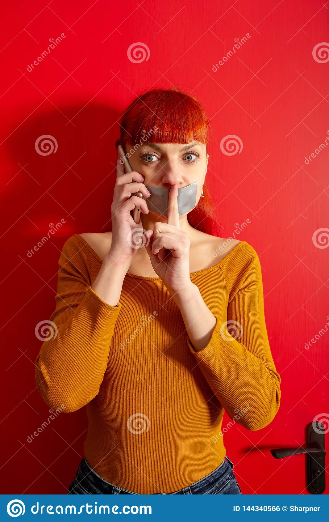 Girl Tape Lips Phone Stock Photo Image Of Pretty Cell 144340566
