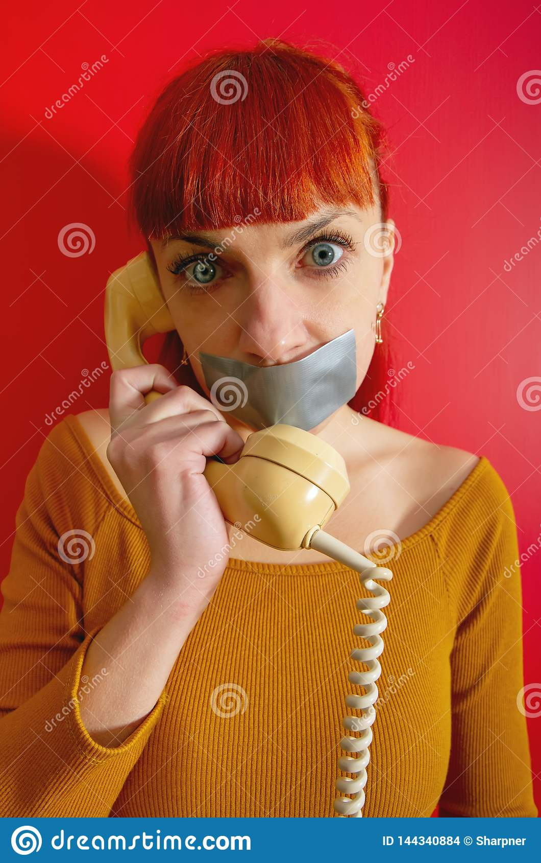 Girl Tape Lips Phone Stock Photo Image Of Cellphone 144340884