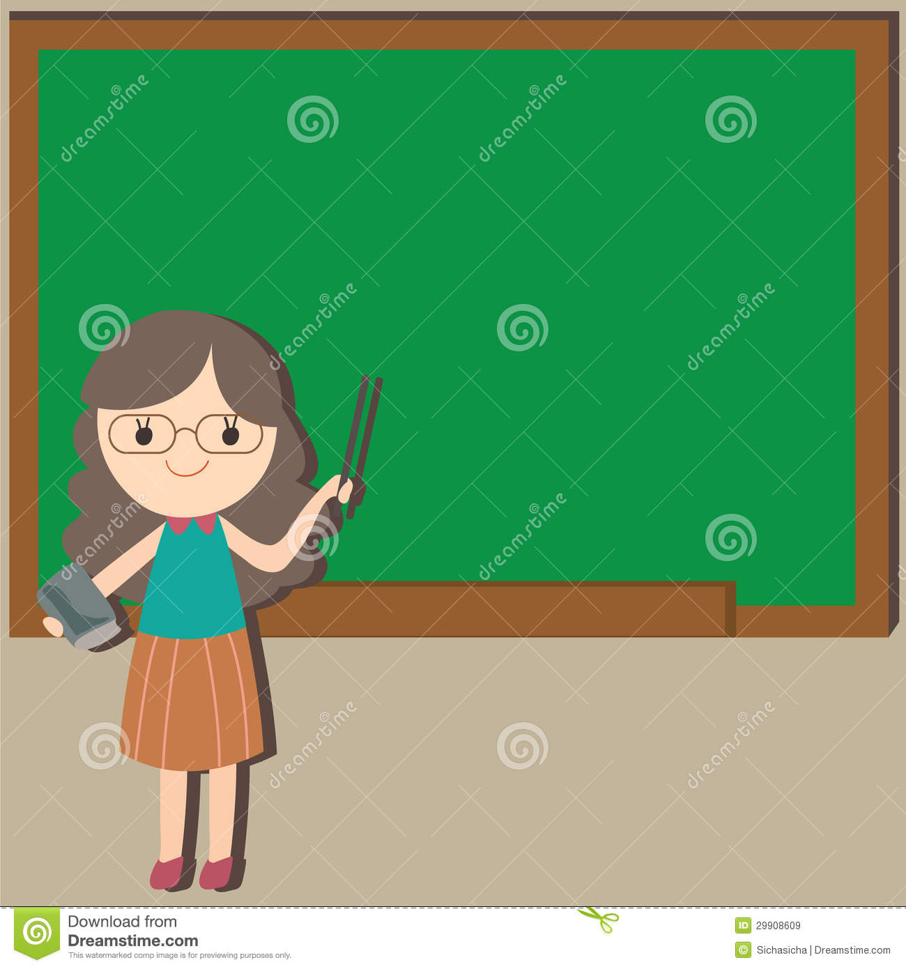 girl teacher with empty space background royalty free