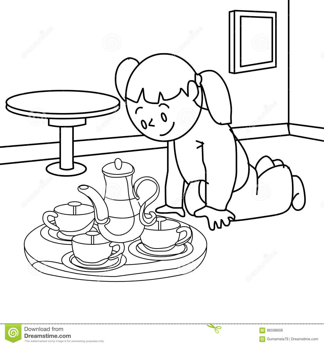 Girl With Teapot Coloring Page Stock Illustration Illustration Of