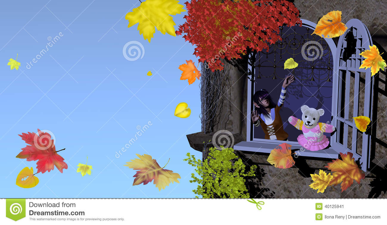 Girl and teddy bear playing with autumn leaves