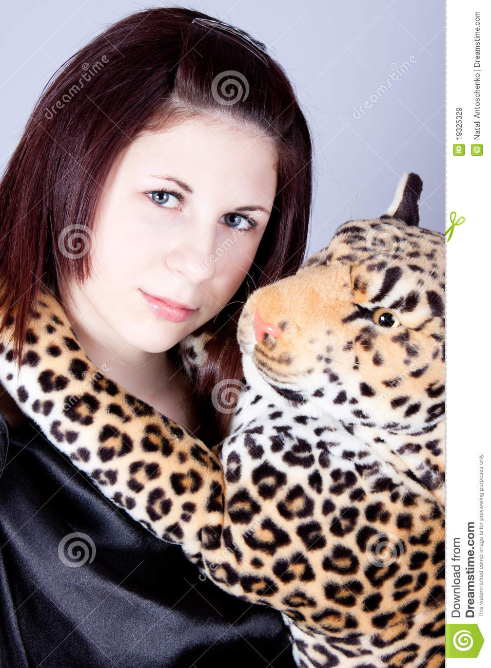 Gril Toy For Teenager : Girl the teenager with a toy panther royalty free stock