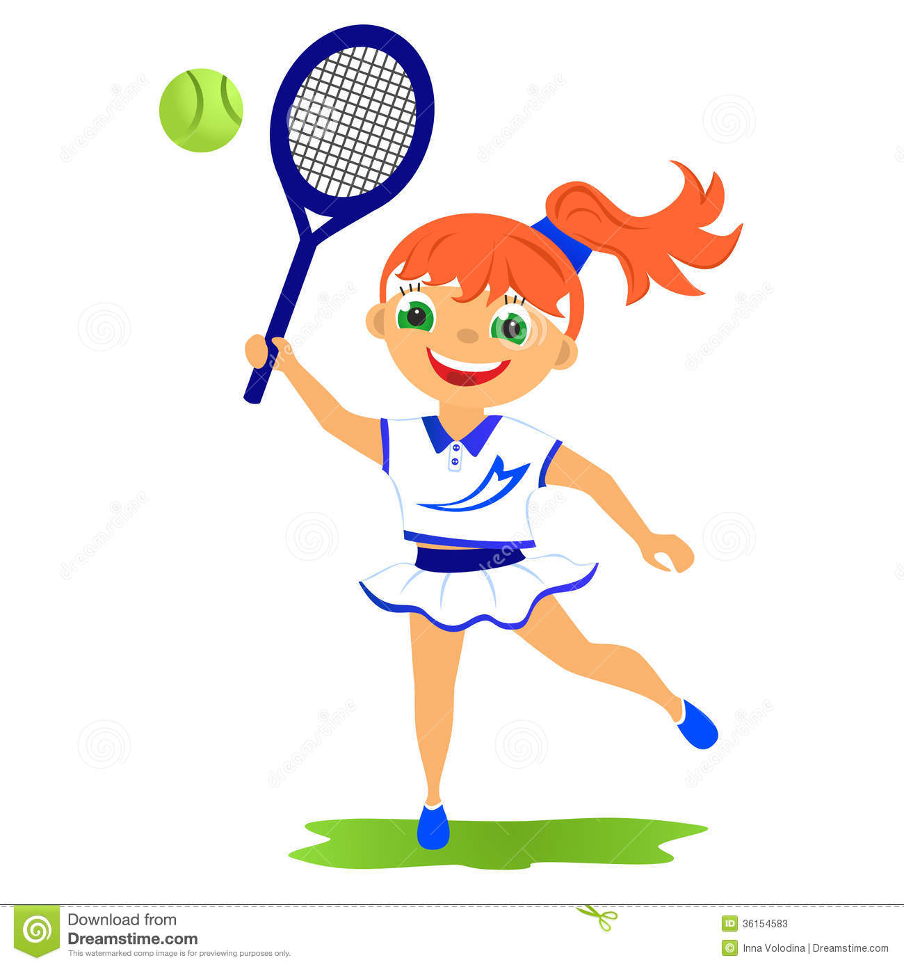 Childrens sport in summertime. Girl tennis player.